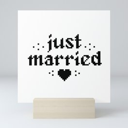 just married couple wedding gift pixel heart Mini Art Print
