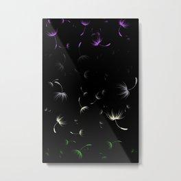 Dandelion Seeds Genderqueer Pride (black background) Metal Print