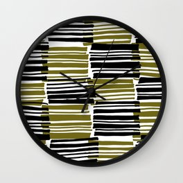 Khaki and Black Stripes - Sarah Bagshaw Wall Clock
