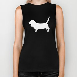 Basset Hound silhouette grey and white dog art dog breed pattern simple minimal Biker Tank