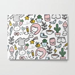 Doodlesdo Doodle Pattern Metal Print