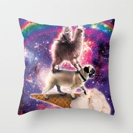 Space Cat Llama Pug Riding Ice Cream Throw Pillow