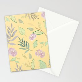 Simple and stylized flowers 3 Stationery Cards