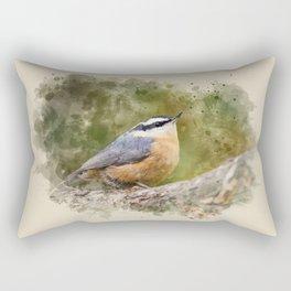 Nuthatch Watercolor Art Rectangular Pillow