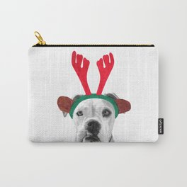 Black and White Boxer Christmas Carry-All Pouch