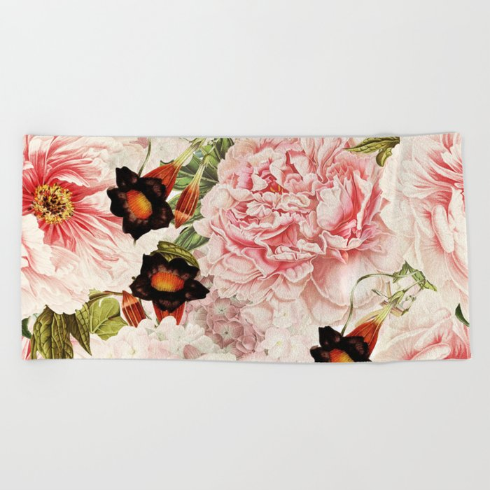 Vintage Peony and Ipomea Pattern - Smelling Dreams Beach Towel