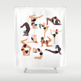 Let's all do yoga Shower Curtain