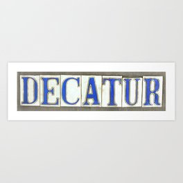 Decatur Street Sign Tile Art New Orleans Louisiana French Quarter Vintage Typography Letters Word Art Print
