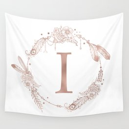 Letter I Rose Gold Pink Initial Monogram Wall Tapestry