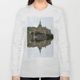 Mirrored landscape 2 Mont-Saint-Michel Long Sleeve T-shirt