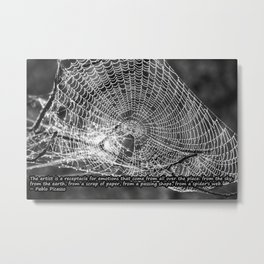 Raindrop Covered Spiderweb Metal Print