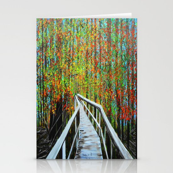 Walkway  in the woods  Stationery Cards