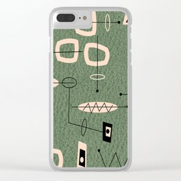 Mid-Century Atomic Green Abstract Clear iPhone Case