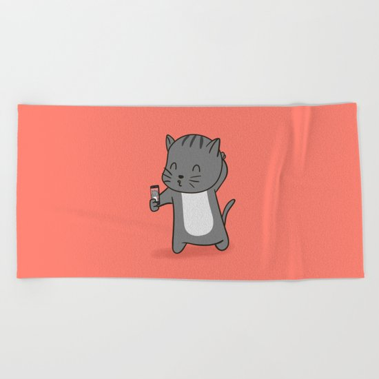 Selfie Kitty Beach Towel