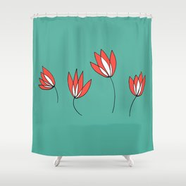 Whimsical Red and Teal Flowers by Emma Freeman Designs Shower Curtain