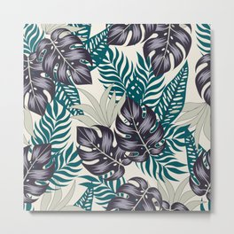 Fashionable seamless tropical pattern with bright plants and leaves on a beige background. Beautiful print with hand drawn exotic plants. Printing and textiles. Colorful stylish floral. Metal Print