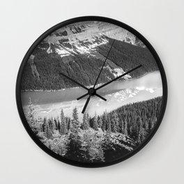 Peyton Lake Landscape   Black and White Photography Wall Clock