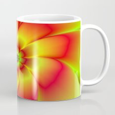 Red Yellow Green and Orange Flower Mug