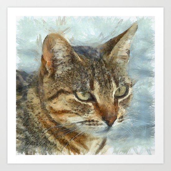 Stunning Tabby Cat Close Up Portrait Art Print