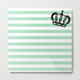 Pastel Goth - Mint Stripes and Crown 2 Metal Print