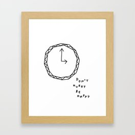 Be Happy - black and white illustration Framed Art Print