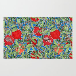 Pomegranate Branches and Fruit Rug