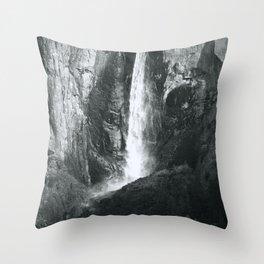 Bridalveil Falls. Yosemite California in Black and White Throw Pillow