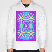 psychedelic art Hoodies featuring psychedelic Floral Fuchsia Aqua by 2sweet4words Designs
