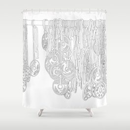 Happy Five Yen Coins - Line Art Shower Curtain