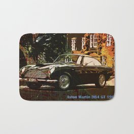 Aston Martin DB4 GT 1960 vintage classic car on New Orleans colorful map Bath Mat