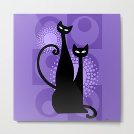 Purple Paradise Atomic Age Black Kitschy Cats Metal Print
