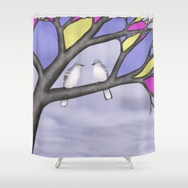 northern mockingbirds in the stained glass tree Shower Curtain