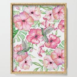 Hibiscus + Hummingbirds Pink Serving Tray