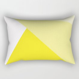Simple Geometric Triangle Pattern - White on Yellow - Mix & Match with Simplicity of life Rectangular Pillow