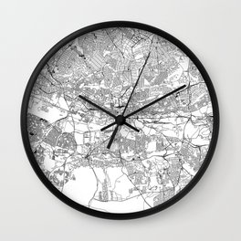 Johannesburg White Map Wall Clock