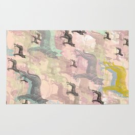 Sky Dogs - Abstract Geometric pink mauve mint grey orange Rug