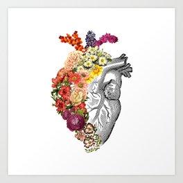 Flower Heart Spring White Art Print