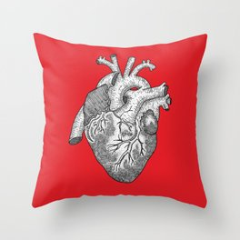 Anatomical Heart Ink Illustration Throw Pillow