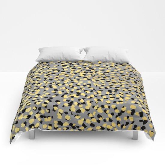 Colvi - leopard animal print gold black and white gender neutral modern trendy non binary art decor Comforters