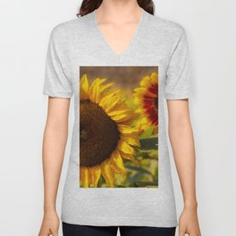 Sunflower Friends at Dusk by Reay of Light Unisex V-Neck