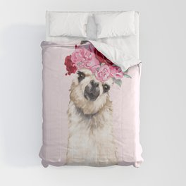 Llama with Pink Roses Flower Crown Comforters