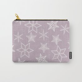 Snowflakes on pink background Carry-All Pouch