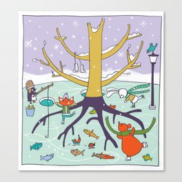 animals winter fun Canvas Print