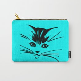 Aqua Kitty Cat Face Carry-All Pouch