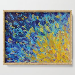 AQUATIC MELODY - Lovely Bright Abstract Ocean Waves Acrylic Painting Colorful Rainbow Beach Gift Art Serving Tray