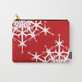White snowflakes on red. Carry-All Pouch