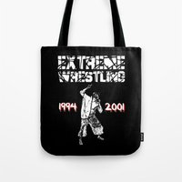 wrestling Tote Bags featuring Extreme Wrestling by Darth Paul
