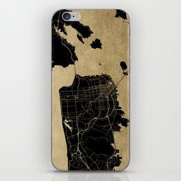 San Francisco California Black and Gold Map iPhone Skin
