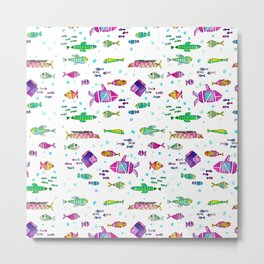 Catch all the fish! Tropical and colorful fishes swim in shoals Metal Print
