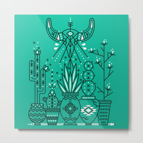 Santa Fe Garden – Turquoise & Black Metal Print